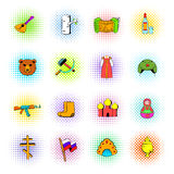 Russia set icons, comics style Royalty Free Stock Photography