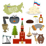 Russia set icons. Traditional objects of country. Russian nation Stock Images