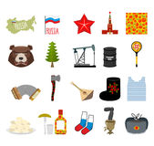 Russia set icons. Traditional objects of  country.  Stock Images
