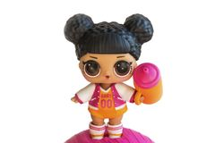 Russia, Severodvinsk, 04.20.2019. Cute little L.O.L. Surprise doll with accessories. Her name is Hoops MVP . Isolate on royalty free stock image