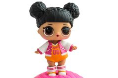 Russia, Severodvinsk, 30 March 2019. Cute little L.O.L. Surprise doll. Her name is Hoops MVP. Isolate royalty free stock photos