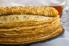 Russia, Severodvinsk, a stack of homemade Russian pancakes, close-up. The Concept of a Holiday Maslenitsa.  royalty free stock image
