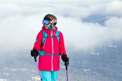 Russia, Sheregesh 2018.11.17 Professional woman skier in pink sp royalty free stock images
