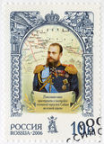 RUSSIA - 2006: shows Alexander III (1845-1894), the emperor, and map, the history of the Russian State. RUSSIA - CIRCA 2006: A stamp printed in Russia shows stock photography