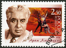 RUSSIA - 2003: shows Birth Centenary of Aram I. Khachaturyan (1903-1978), composer, scene from the ballet Spartacus. RUSSIA - CIRCA 2003: A stamp printed in royalty free stock photography