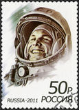 RUSSIA - 2011: shows first man in space, Yuri Alekseyevich Gagarin 1934-1968. RUSSIA - CIRCA 2011: A stamp printed in Russia shows first man in space, Yuri Royalty Free Stock Image