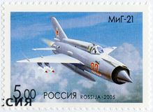 RUSSIA - 2005: shows The Mikoyan-Gurevich MiG-21, series OKB planes by A.I.Mikoyan, the aircraft designer. RUSSIA - CIRCA 2005: A stamp printed in Russia shows stock photo