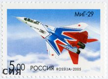 RUSSIA - 2005: shows The Mikoyan MiG-29, series OKB planes by A.I.Mikoyan, the aircraft designer. RUSSIA - CIRCA 2005: A stamp printed in Russia shows The royalty free stock image