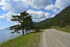 Russia, Siberia. The road along the shore of lake Baikal near the village of Bolshoe Goloustnoe on 26 August 2016. Lake Baikal larch clouds water blue sky Stock Photos