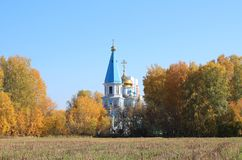 Russia Siberia the temple among the Russian fields stock images