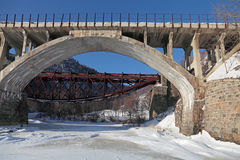 Russia, Siberia, winter Baikal, the view of the old bridges Circ Stock Images