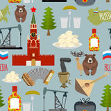 Russia sightseeing seamless pattern. The Moscow Kremlin and the Royalty Free Stock Photography