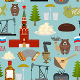 Russia sightseeing seamless pattern. Moscow Kremlin and Samovar Royalty Free Stock Image