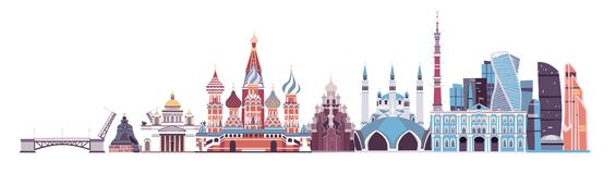 Free Russia Skyline Vector. Landmark Kremlin Palace, TV Tower And St. Isaac`s Cathedral Illustration Stock Photography - 137721412