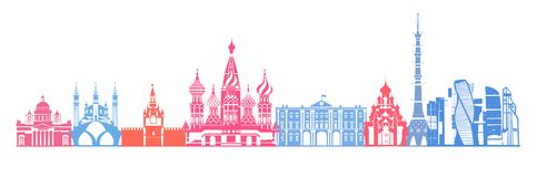 Russia skyline vector. Travel and tourism background. Vector illustration Russia skyline vector. royalty free illustration
