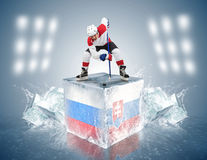 Russia - Slovakia game. Face-off player on the ice cube. Royalty Free Stock Photo