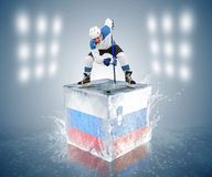 Russia - Slovenia game. Face-off player on the ice cube. Stock Images