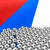 Russia soccer background. 3D illustration of soccer balls on Russian Federation flag Royalty Free Stock Image