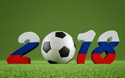 2018 Russia - a soccer ball representing the 0. Year 2018 in russian flag colors. A soccer ball representing the 0 in 2018.  3D Rendering Royalty Free Stock Photos