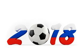 2018 Russia - a soccer ball representing the 0. Year 2018 in russian flag colors. A soccer ball representing the 0 in 2018.  3D Rendering Stock Images