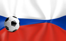 Russia soccer ball and russian flag background 3d render Stock Images
