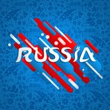 Russia sport event design for special soccer game. Russia soccer event illustration, festive typography quote with russian flag color background. EPS10 vector Stock Photos