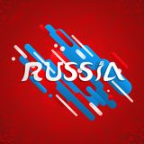 Russia sport event design for special soccer game. Russia soccer event illustration, festive typography quote with russian flag color background. EPS10 vector Royalty Free Stock Photos