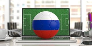 Russia soccer football ball on a computer keyboard, blur. Russia soccer football ball on a laptop keyboard, blurred office background. 3d illustration Stock Photography