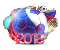 Russia 2018 soccer football ball. 3d rendering over russian flag Royalty Free Stock Photography