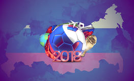 Russia 2018 soccer football ball. 3d rendering over russian flag Royalty Free Stock Photo