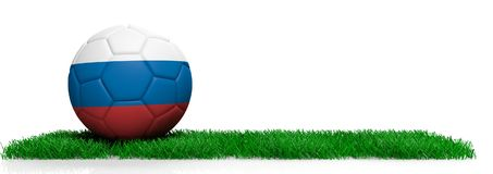 Russia soccer football ball on grass, white background. 3d illustration. Russia soccer football ball on grass isolated on white background, copy space. 3d Stock Image