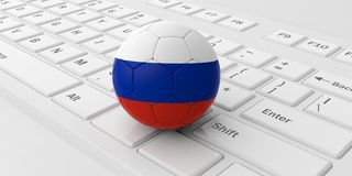 Russia soccer football ball isolated on a white computer keyboard. 3d illustration. Soccer football ball with Russia flag isolated on a white laptop keyboard. 3d Stock Photo
