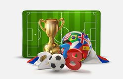 Russia soccer football 3D illustration russian symbol design. Image Royalty Free Stock Photo