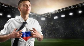 Russia soccer or football supporter showing flag stock photo
