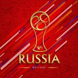 Russia soccer match event gold award background. Soccer award for special football match. Russia text quote and gold illustration with festive color background Royalty Free Stock Images