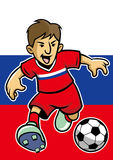 Russia soccer player with flag background Royalty Free Stock Photos