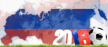 2018 Russia soccer state outline map soccer 3d render. Illustration Stock Images
