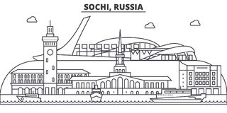 Russia, Sochi architecture line skyline illustration. Linear vector cityscape with famous landmarks, city sights, design Stock Photography