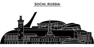 Russia, Sochi architecture urban skyline with landmarks, cityscape, buildings, houses, ,vector city landscape, editable vector illustration