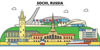 Russia, Sochi. City skyline, architecture, buildings, streets, silhouette, landscape, panorama, landmarks. Editable Stock Images