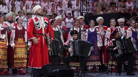 RUSSIA, SOCHI - JUL 16, 2016: World Choir Games. The State's Kuban Cossack Chorus sings the song Marusya, One, Two. Three . Shot with A7s and Beholder DS 1 stock footage