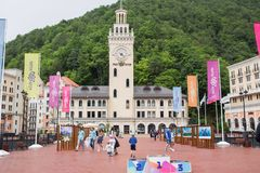 RUSSIA, SOCHI - MAY 25, 2018: Rosa Khutor before the football world Cup royalty free stock photos