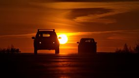 Fiery sunset on Siberian roads. stock image