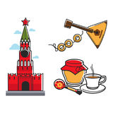 Russia Soviet Union symbols for USSR Russian travel tourist attraction vector icons Royalty Free Stock Photo
