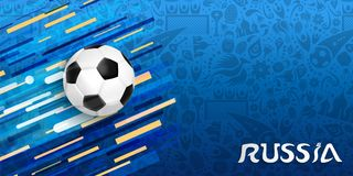 Russia sport event web banner with soccer ball. Russia soccer event illustration, web banner design of football ball with festive color background. EPS10 vector Stock Images