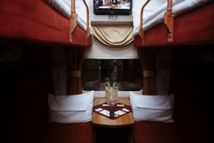 RUSSIA, SPRING 2015: Interior of a coupe in a passenger train. Moscow - St. Petersburg Stock Photos