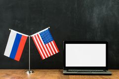 Russia spying on America with flag Stock Photos