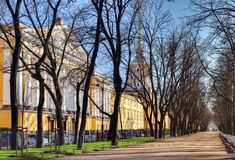 Russia, St. Petersburg Admiralty building and Alexander Garden. Stock Photography