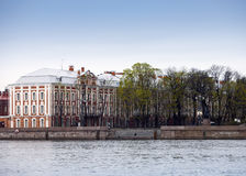 Russia. St. Petersburg. A building of the State University (building of Twelve boards) on Neva Embankment Royalty Free Stock Image