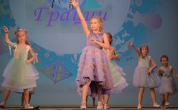 Russia, St. Petersburg 01,06,2019 Charitable XVII Festival of Children`s Creativity. Russia, St. Petersburg 01,06,2019 Children in dresses, fashion show stock photography